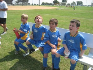 Youth soccer team in custom soccer jerseys